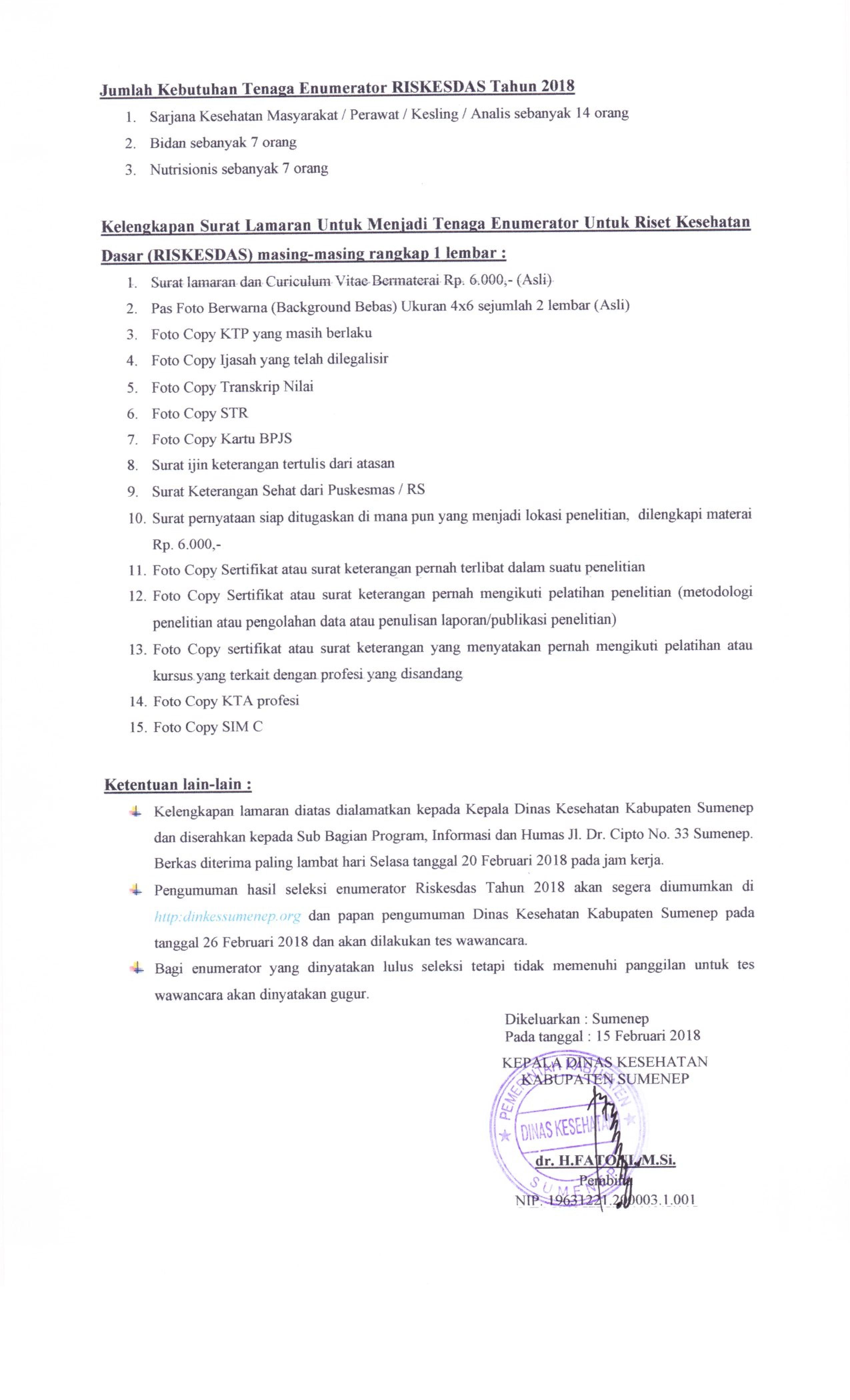 Rekruitment Tenaga Enumerator Dinas Kesehatan Kabupaten